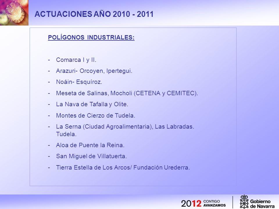 ACTUACIONES AÑO 2010 - 2011 POLÍGONOS INDUSTRIALES: -Comarca I y II. -Arazuri- Orcoyen, Ipertegui. -Noáin- Esquíroz. -Meseta de Salinas, Mocholi (CETE