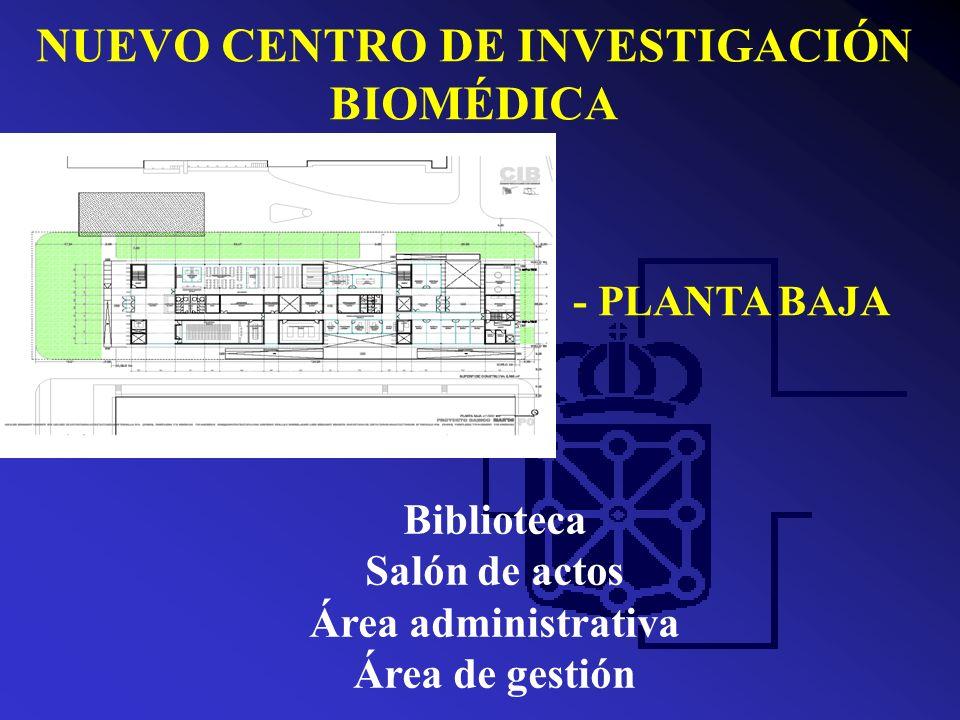 NUEVO CENTRO DE INVESTIGACIÓN BIOMÉDICA - PLANTA PRIMERA 2 Semilleros Metodología 3 laboratorios Plataforma genómica Bioinformática Zonas de apoyo