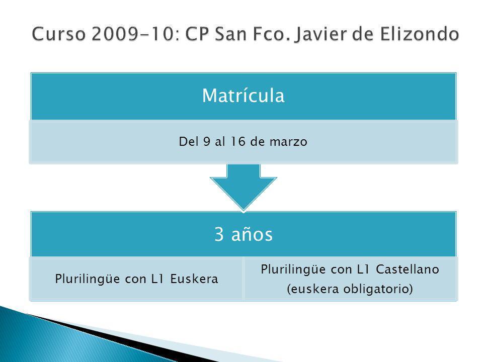 3 años Plurilingüe con L1 Castellano (opción euskera) Matrícula Del 9 al 16 de marzo