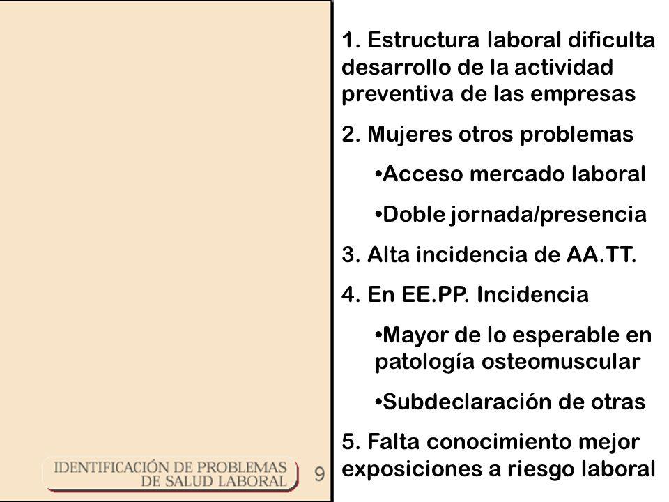 1. Estructura laboral dificulta desarrollo de la actividad preventiva de las empresas 2.