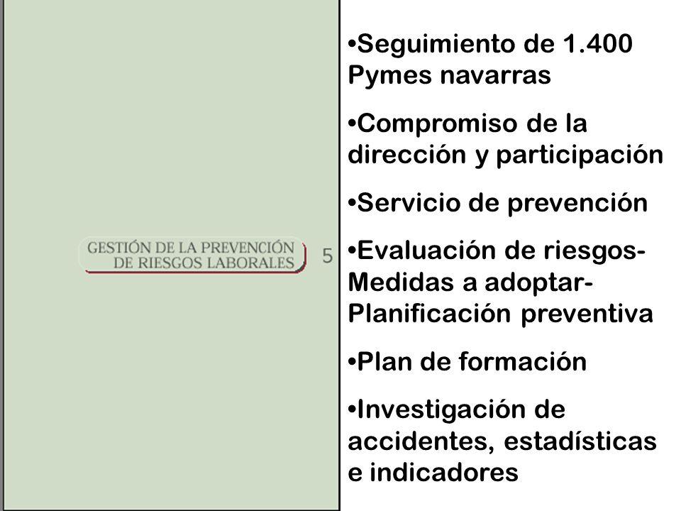 Seguimiento de 1.400 Pymes navarras Compromiso de la dirección y participación Servicio de prevención Evaluación de riesgos- Medidas a adoptar- Planificación preventiva Plan de formación Investigación de accidentes, estadísticas e indicadores