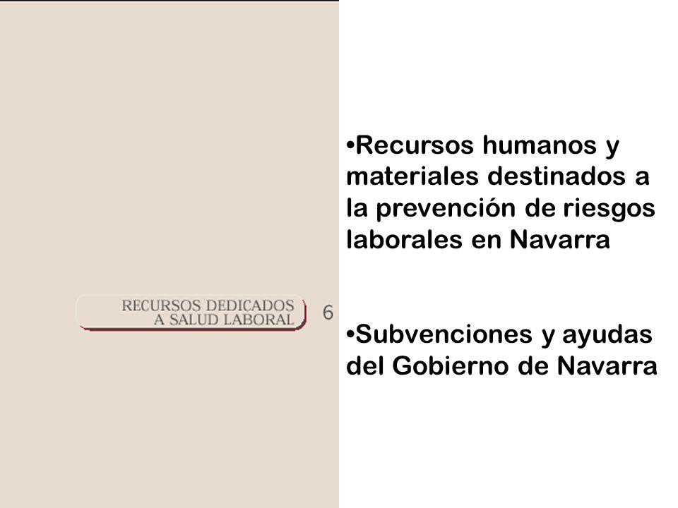 Recursos humanos y materiales destinados a la prevención de riesgos laborales en Navarra Subvenciones y ayudas del Gobierno de Navarra