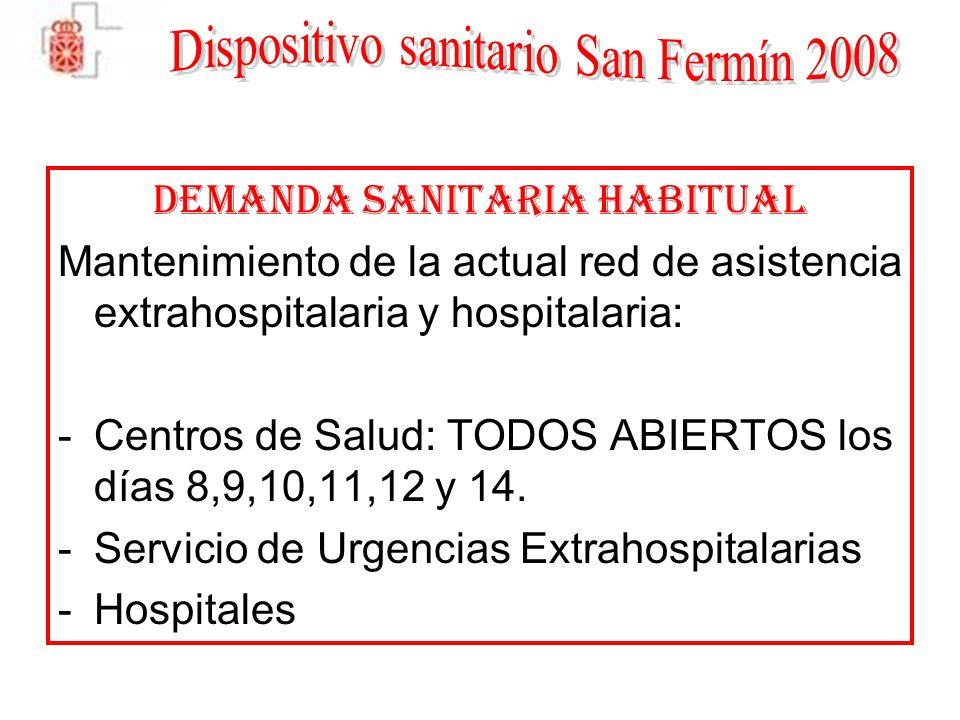 DEMANDA SANITARIA HABITUAL Mantenimiento de la actual red de asistencia extrahospitalaria y hospitalaria: -Centros de Salud: TODOS ABIERTOS los días 8,9,10,11,12 y 14.