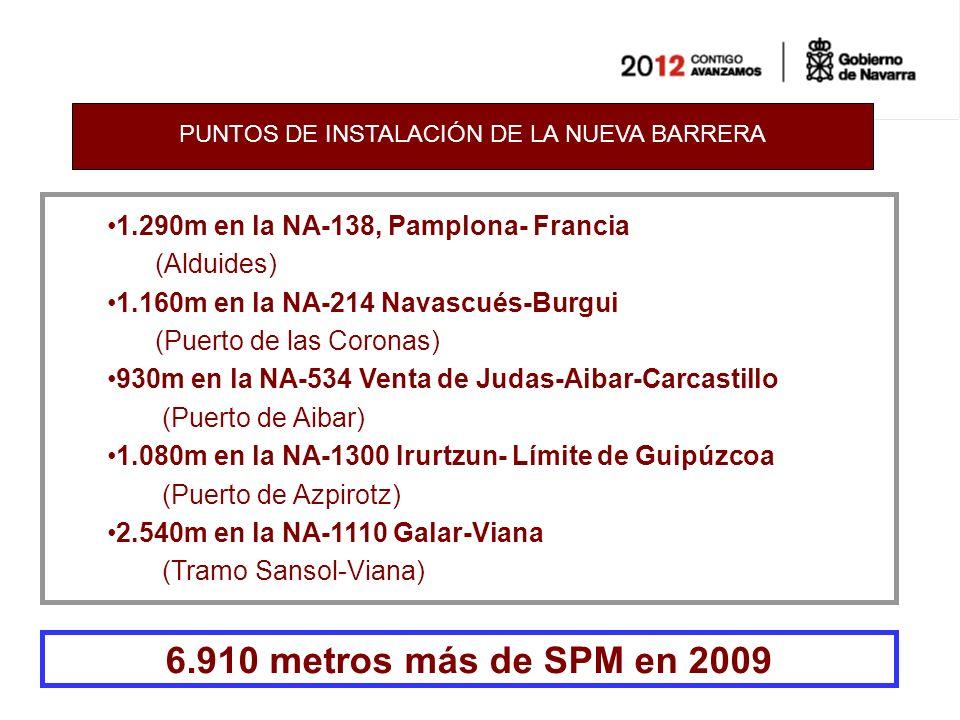PUNTOS DE INSTALACIÓN DE LA NUEVA BARRERA 1.290m en la NA-138, Pamplona- Francia (Alduides) 1.160m en la NA-214 Navascués-Burgui (Puerto de las Coronas) 930m en la NA-534 Venta de Judas-Aibar-Carcastillo (Puerto de Aibar) 1.080m en la NA-1300 Irurtzun- Límite de Guipúzcoa (Puerto de Azpirotz) 2.540m en la NA-1110 Galar-Viana (Tramo Sansol-Viana) 6.910 metros más de SPM en 2009