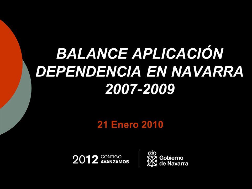 Balance Dependencia 2007-2009 Presupuesto Aportación del estado al presupuesto navarro en dependencia: 5.903.020 euros en el año 2007, lo que supone cerca de un 6% del presupuesto de ese año.