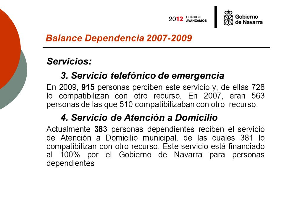 Balance Dependencia 2007-2009 Ayudas económicas Actualmente, 5.058 personas y familias perciben las ayudas económicas para cuidados en el entorno familiar, frente a las 3.881 del año 2007 y las 5.639 del 2008