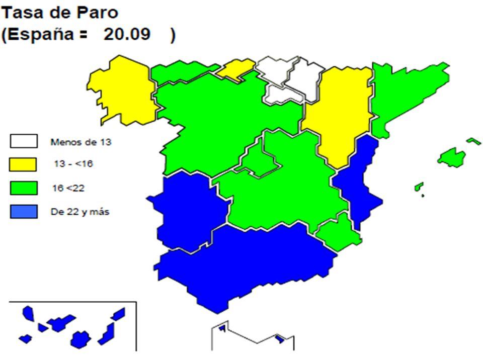 II 09I10II10 NAVARRA12,2312,32 10,96 (-1,27 año ) ESPAÑA17,9220,05 20,09 (+2,17 año) DIFERENCIA NAVARRA/ESPAÑA - 5,69- 7,73- 9,13 Evolución tasa de paro (%)