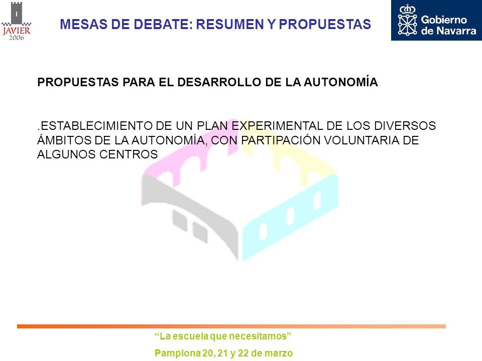 La escuela que necesitamos Pamplona 20, 21 y 22 de marzo MESAS DE DEBATE: RESUMEN Y PROPUESTAS PROPUESTAS PARA EL DESARROLLO DE LA AUTONOMÍA.ESTABLECI