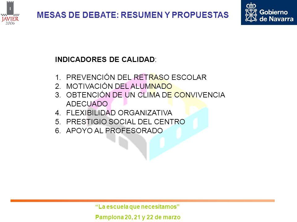 La escuela que necesitamos Pamplona 20, 21 y 22 de marzo MESAS DE DEBATE: RESUMEN Y PROPUESTAS INDICADORES DE CALIDAD: 1.PREVENCIÓN DEL RETRASO ESCOLA