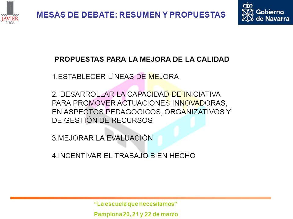 La escuela que necesitamos Pamplona 20, 21 y 22 de marzo MESAS DE DEBATE: RESUMEN Y PROPUESTAS PROPUESTAS PARA LA MEJORA DE LA CALIDAD 1.ESTABLECER LÍ