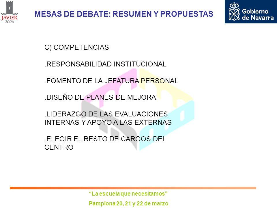 La escuela que necesitamos Pamplona 20, 21 y 22 de marzo MESAS DE DEBATE: RESUMEN Y PROPUESTAS C) COMPETENCIAS.RESPONSABILIDAD INSTITUCIONAL.FOMENTO D