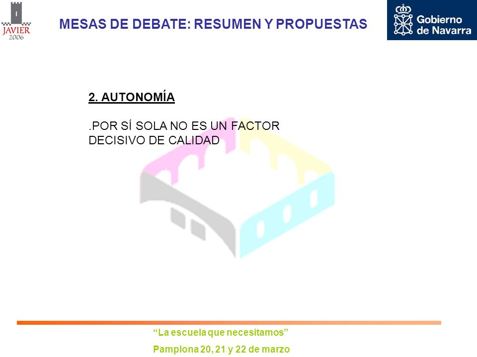 La escuela que necesitamos Pamplona 20, 21 y 22 de marzo MESAS DE DEBATE: RESUMEN Y PROPUESTAS AUTONOMÍA:.LA AUTONOMÍA NO PUEDE SER IMPUESTA POR DECRETO A TODO EL SISTEMA EDUCATIVO AL MISMO TIEMPO.AUTONOMÍA BASADA EN UN CONSENSO EDUCATIVO Y SOCIAL, PLANIFICADA A LARGO PLAZO.IMPLANTACIÓN PROGRESIVA.IMPLANTACIÓN DEL PROCESO DE AUTONOMÍA COORDINADO CON UN CONJUNTO DE MEDIDAS DESTINADAS A RENOVAR Y MEJORAR EL SISTEMA EDUCATIVO