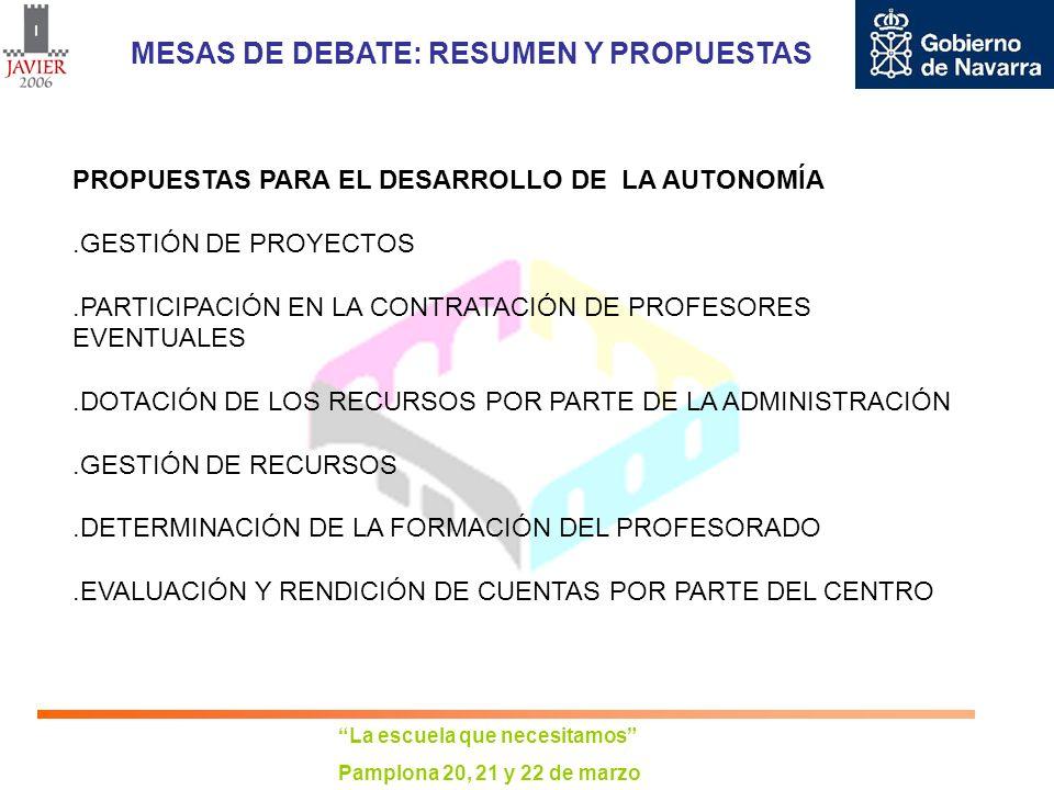 La escuela que necesitamos Pamplona 20, 21 y 22 de marzo MESAS DE DEBATE: RESUMEN Y PROPUESTAS PROPUESTAS PARA EL DESARROLLO DE LA AUTONOMÍA.ESTABLECIMIENTO DE UN PLAN EXPERIMENTAL DE LOS DIVERSOS ÁMBITOS DE LA AUTONOMÍA, CON PARTIPACIÓN VOLUNTARIA DE ALGUNOS CENTROS