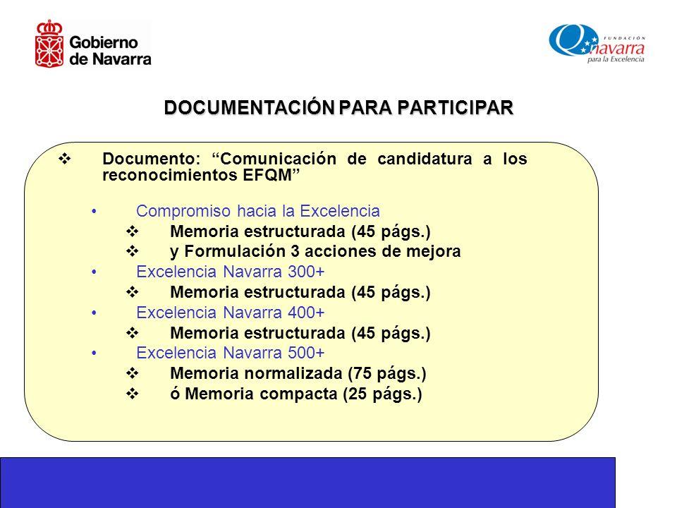 DOCUMENTACIÓN PARA PARTICIPAR Documento: Comunicación de candidatura a los reconocimientos EFQM Compromiso hacia la Excelencia Memoria estructurada (45 págs.) y Formulación 3 acciones de mejora Excelencia Navarra 300+ Memoria estructurada (45 págs.) Excelencia Navarra 400+ Memoria estructurada (45 págs.) Excelencia Navarra 500+ Memoria normalizada (75 págs.) ó Memoria compacta (25 págs.)