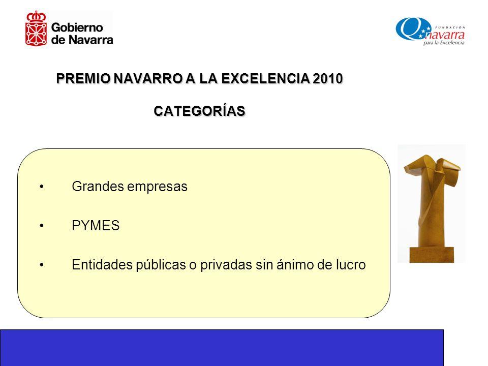PREMIO NAVARRO A LA EXCELENCIA 2010 CATEGORÍAS Grandes empresas PYMES Entidades públicas o privadas sin ánimo de lucro