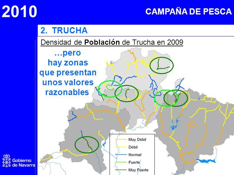 2010 2.TRUCHA Densidad de Población de Trucha en 2009 …pero hay zonas que presentan unos valores razonables CAMPAÑA DE PESCA