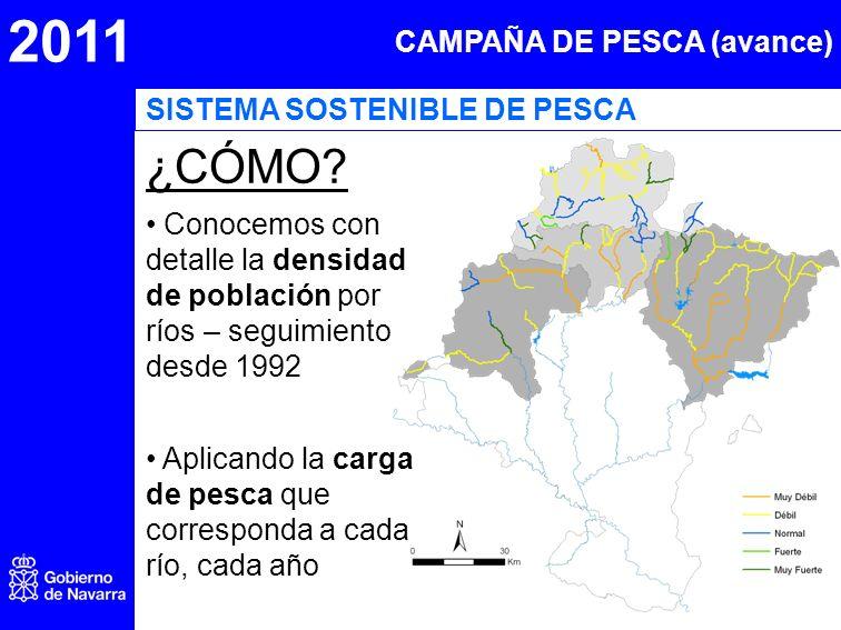 2011 CAMPAÑA DE PESCA (avance) ¿CÓMO? Conocemos con detalle la densidad de población por ríos – seguimiento desde 1992 Aplicando la carga de pesca que