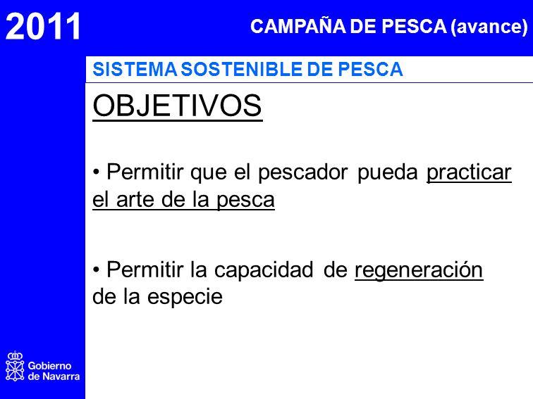 2011 CAMPAÑA DE PESCA (avance) OBJETIVOS Permitir que el pescador pueda practicar el arte de la pesca Permitir la capacidad de regeneración de la espe