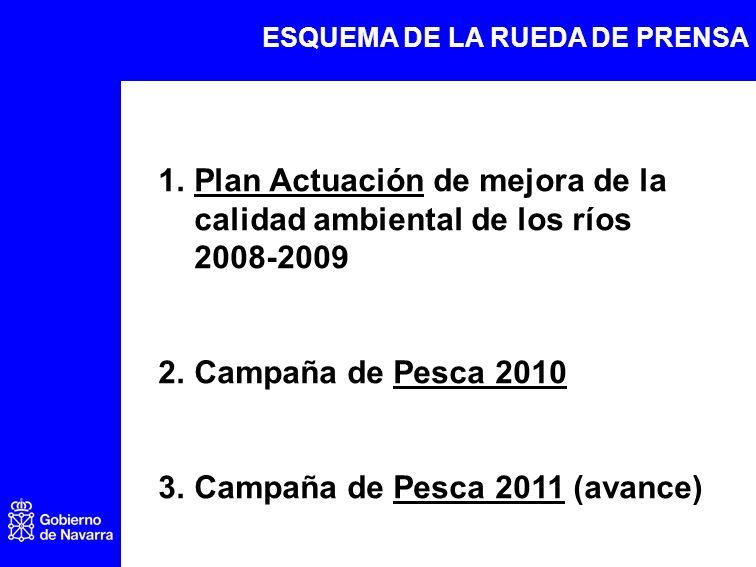 1.Plan Actuación de mejora de la calidad ambiental de los ríos 2008-2009 2.Campaña de Pesca 2010 3.Campaña de Pesca 2011 (avance) ESQUEMA DE LA RUEDA