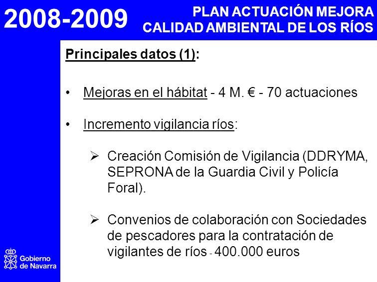 2008-2009 PLAN ACTUACIÓN MEJORA CALIDAD AMBIENTAL DE LOS RÍOS Principales datos (1): Mejoras en el hábitat - 4 M. - 70 actuaciones Incremento vigilanc