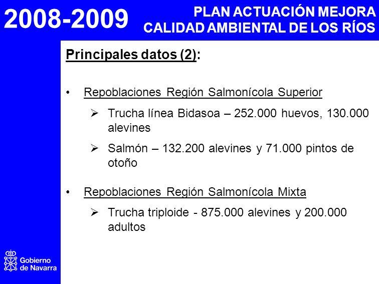 2008-2009 PLAN ACTUACIÓN MEJORA CALIDAD AMBIENTAL DE LOS RÍOS Principales datos (2): Repoblaciones Región Salmonícola Superior Trucha línea Bidasoa – 252.000 huevos, 130.000 alevines Salmón – 132.200 alevines y 71.000 pintos de otoño Repoblaciones Región Salmonícola Mixta Trucha triploide - 875.000 alevines y 200.000 adultos