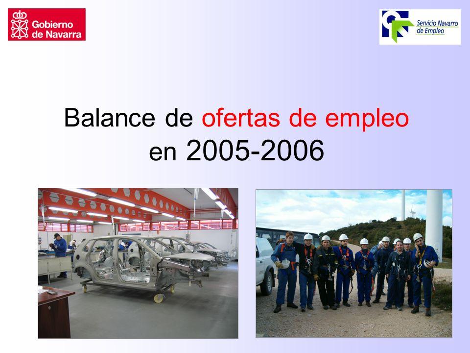 Balance de ofertas de empleo en 2005-2006