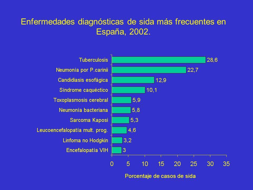 Enfermedades diagnósticas de sida más frecuentes en España, 2002. Porcentaje de casos de sida