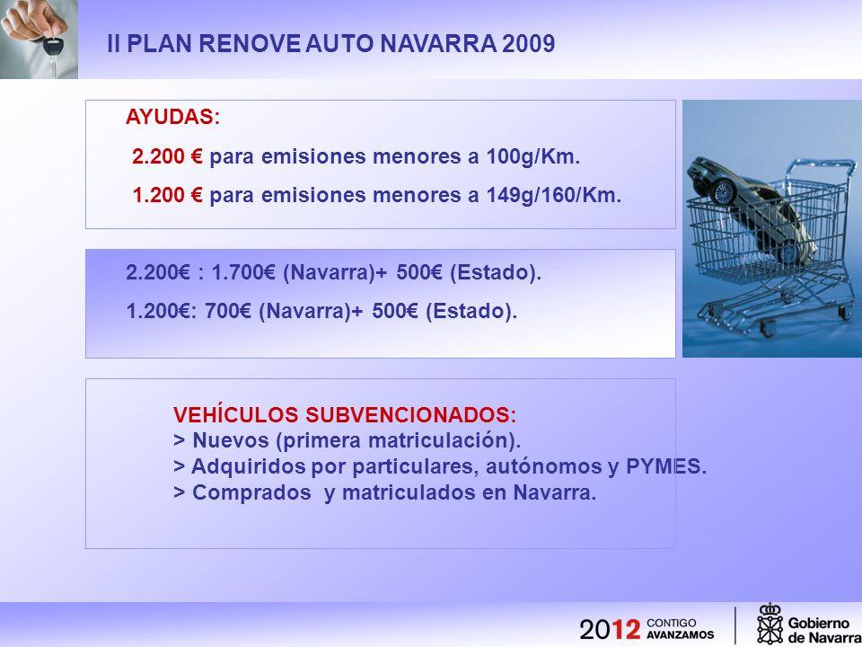 II PLAN RENOVE AUTO NAVARRA 2009 AYUDAS: 2.200 para emisiones menores a 100g/Km.