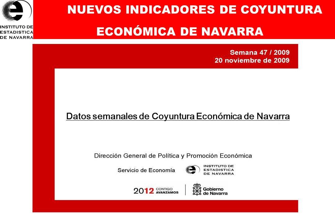 NUEVOS INDICADORES DE COYUNTURA ECONÓMICA DE NAVARRA TODOS LOS DATOS (Nº datos: 70) PIB, IPC, Indicadores del Mercado laboral, Indicadores Industria en Navarra, Comercio Exterior de Navarra, Indicadores Servicios-Comercio en Navarra, Sector Vivienda y Obra Pública, Sector Financiero ACTUALIZADOS SEMANALMENTE A DISPOSICIÓN DE TODOS LOS CIUDADANOS 123 45 6 78
