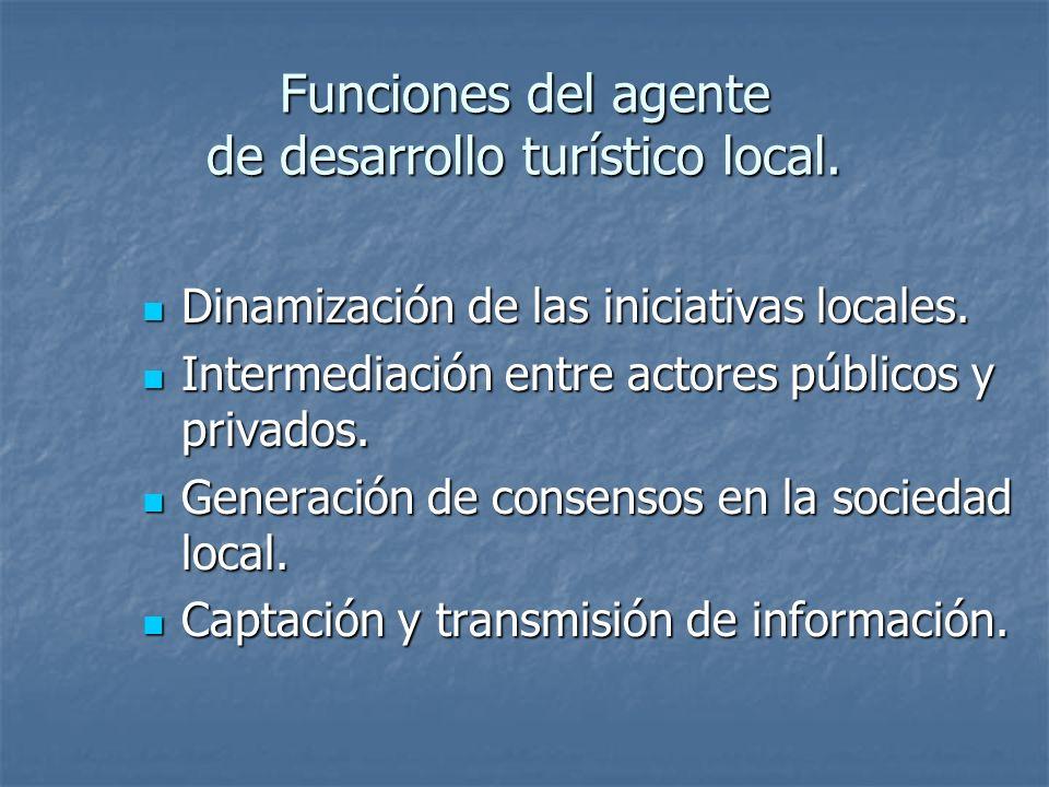 Funciones del agente de desarrollo turístico local.
