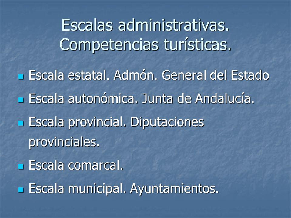 Escalas administrativas. Competencias turísticas.
