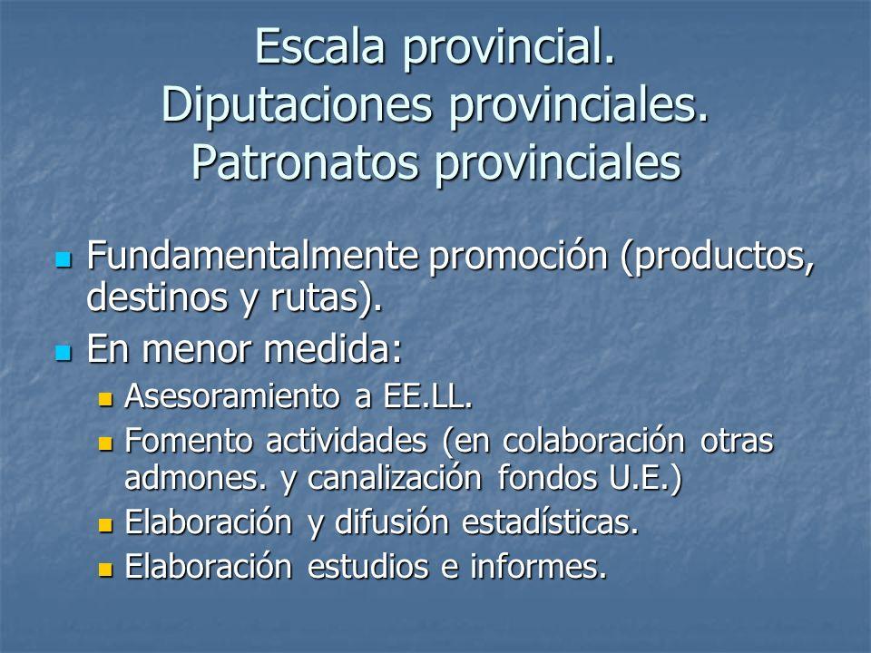 Escala provincial. Diputaciones provinciales. Patronatos provinciales Fundamentalmente promoción (productos, destinos y rutas). Fundamentalmente promo
