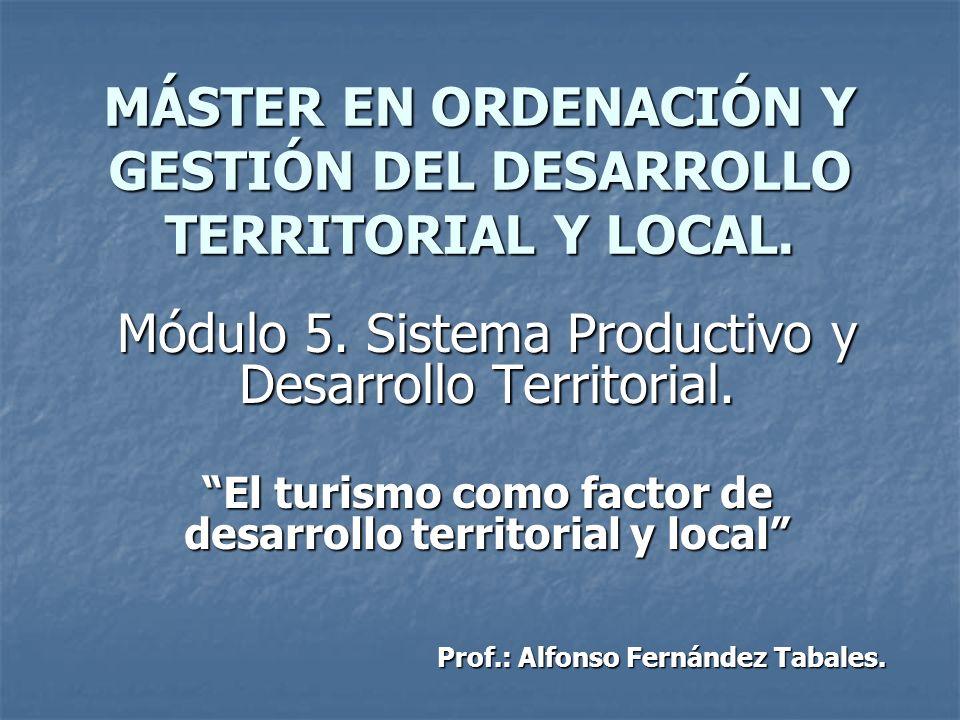 MÁSTER EN ORDENACIÓN Y GESTIÓN DEL DESARROLLO TERRITORIAL Y LOCAL. Módulo 5. Sistema Productivo y Desarrollo Territorial. El turismo como factor de de