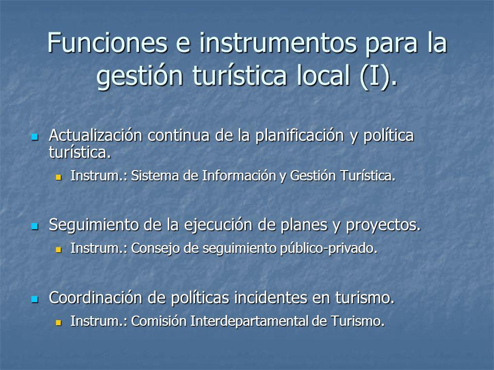 Funciones e instrumentos para la gestión turística local (I). Actualización continua de la planificación y política turística. Actualización continua