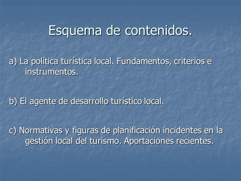 Esquema de contenidos. a) La política turística local. Fundamentos, criterios e instrumentos. b) El agente de desarrollo turístico local. c) Normativa