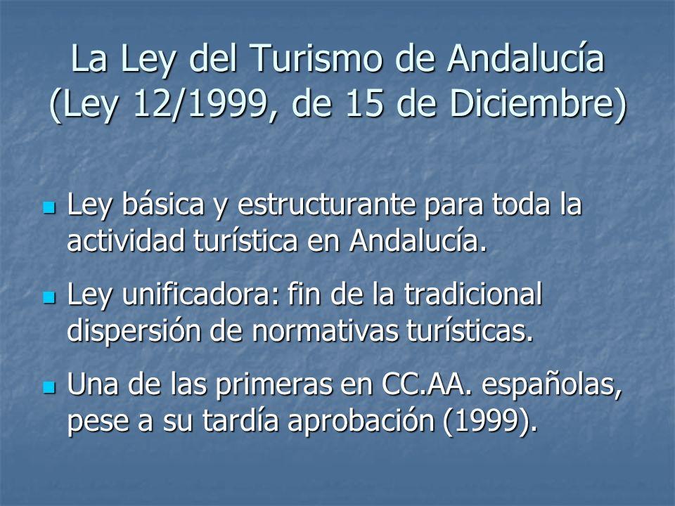 La Ley del Turismo de Andalucía (Ley 12/1999, de 15 de Diciembre) Ley básica y estructurante para toda la actividad turística en Andalucía. Ley básica