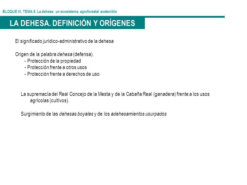 BLOQUE III. TEMA 8. La dehesa: un ecosistema agroforestal sostenible LA DEHESA. DEFINICIÓN Y ORÍGENES El significado jurídico-administrativo de la deh