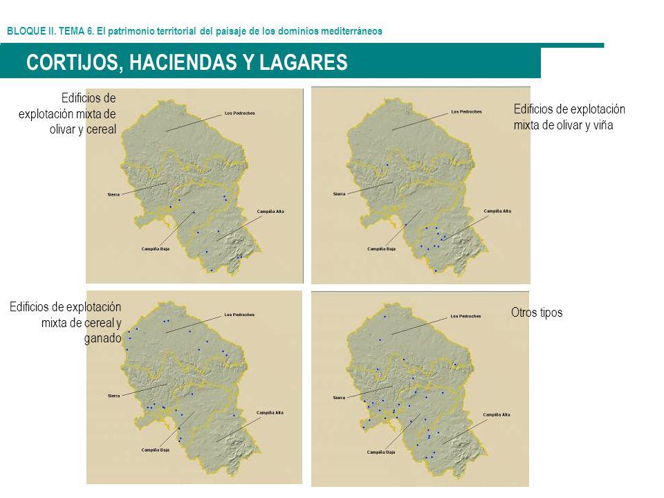 BLOQUE II. TEMA 6. El patrimonio territorial del paisaje de los dominios mediterráneos CORTIJOS, HACIENDAS Y LAGARES Edificios de explotación mixta de