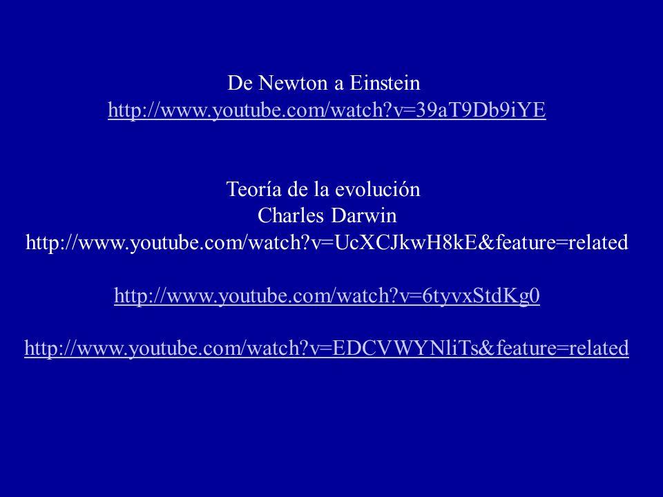 De Newton a Einstein http://www.youtube.com/watch?v=39aT9Db9iYE Teoría de la evolución Charles Darwin http://www.youtube.com/watch?v=UcXCJkwH8kE&feature=related http://www.youtube.com/watch?v=6tyvxStdKg0 http://www.youtube.com/watch?v=EDCVWYNliTs&feature=related