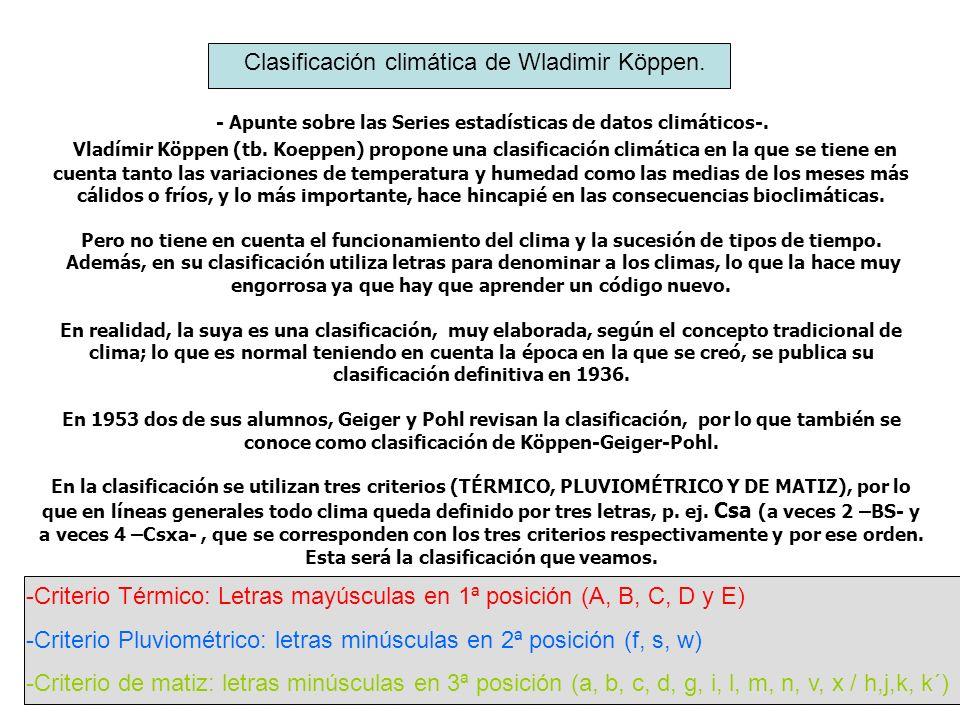 - Apunte sobre las Series estadísticas de datos climáticos-. Vladímir Köppen (tb. Koeppen) propone una clasificación climática en la que se tiene en c