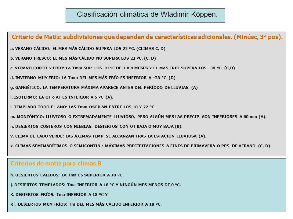 Criterio de Matiz: subdivisiones que dependen de características adicionales. (Minúsc, 3ª pos). a. VERANO CÁLIDO: EL MES MÁS CÁLIDO SUPERA LOS 22 ºC.
