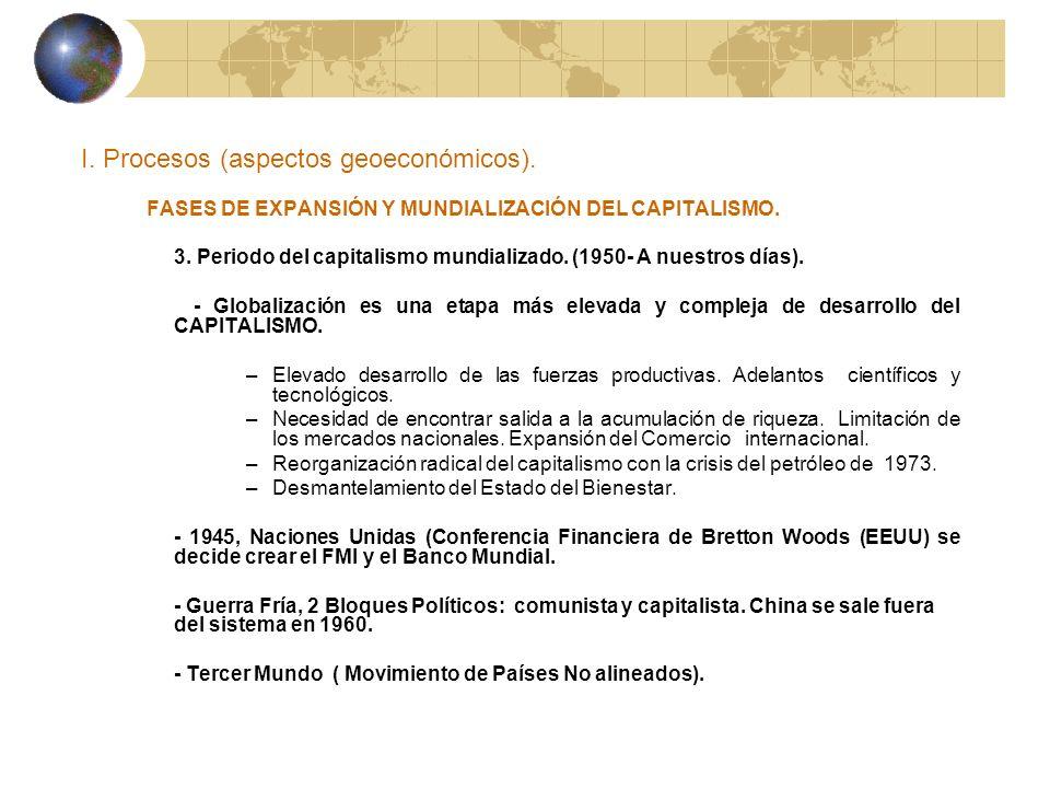 I. Procesos (aspectos geoeconómicos). FASES DE EXPANSIÓN Y MUNDIALIZACIÓN DEL CAPITALISMO. 3. Periodo del capitalismo mundializado. (1950- A nuestros