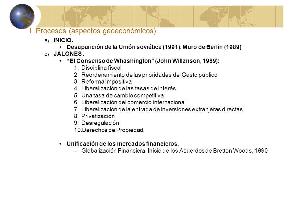 I. Procesos (aspectos geoeconómicos). B) INICIO. Desaparición de la Unión soviética (1991). Muro de Berlín (1989) C) JALONES. El Consenso de Whashingt