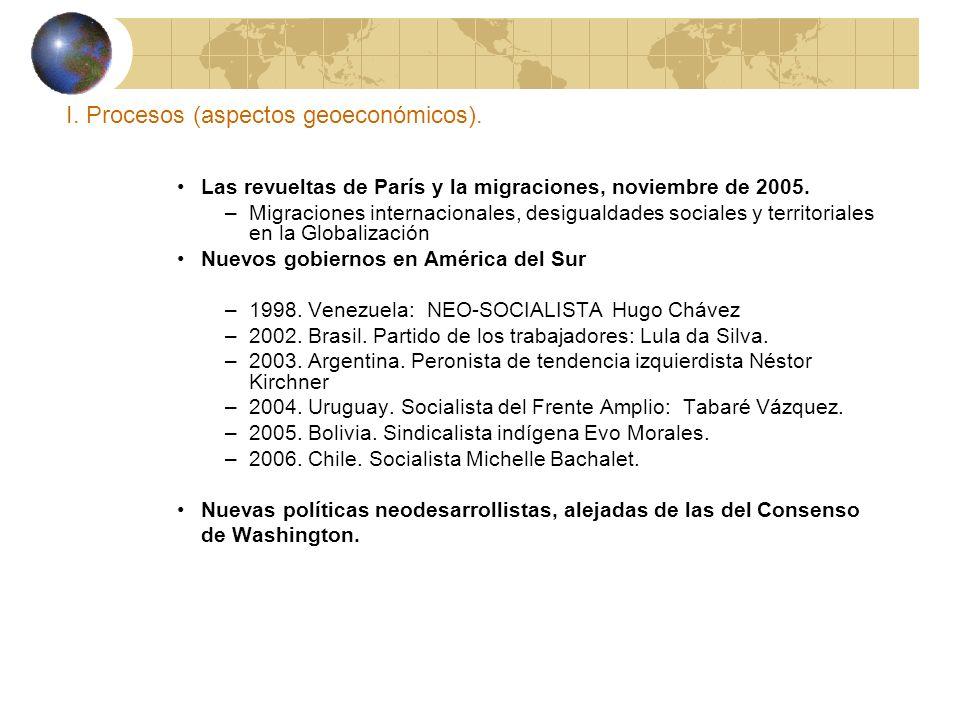 I. Procesos (aspectos geoeconómicos). Las revueltas de París y la migraciones, noviembre de 2005. –Migraciones internacionales, desigualdades sociales
