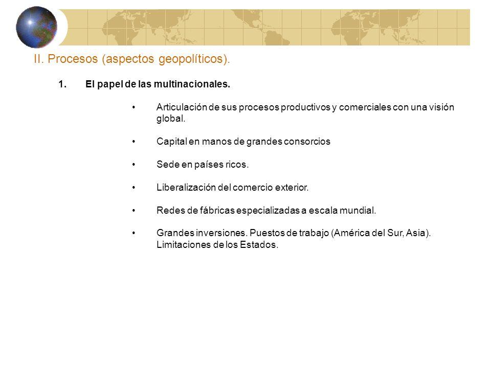 II. Procesos (aspectos geopolíticos). 1. El papel de las multinacionales. Articulación de sus procesos productivos y comerciales con una visión global