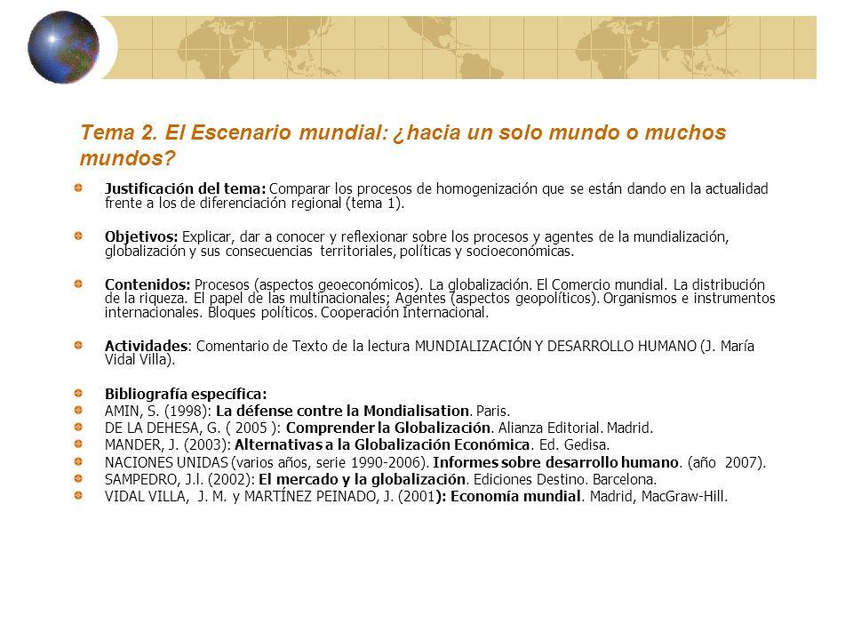 Tema 2. El Escenario mundial: ¿hacia un solo mundo o muchos mundos? Justificación del tema: Comparar los procesos de homogenización que se están dando