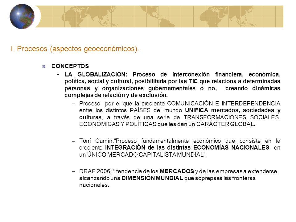 I. Procesos (aspectos geoeconómicos). CONCEPTOS LA GLOBALIZACIÓN: Proceso de interconexión financiera, económica, política, social y cultural, posibil