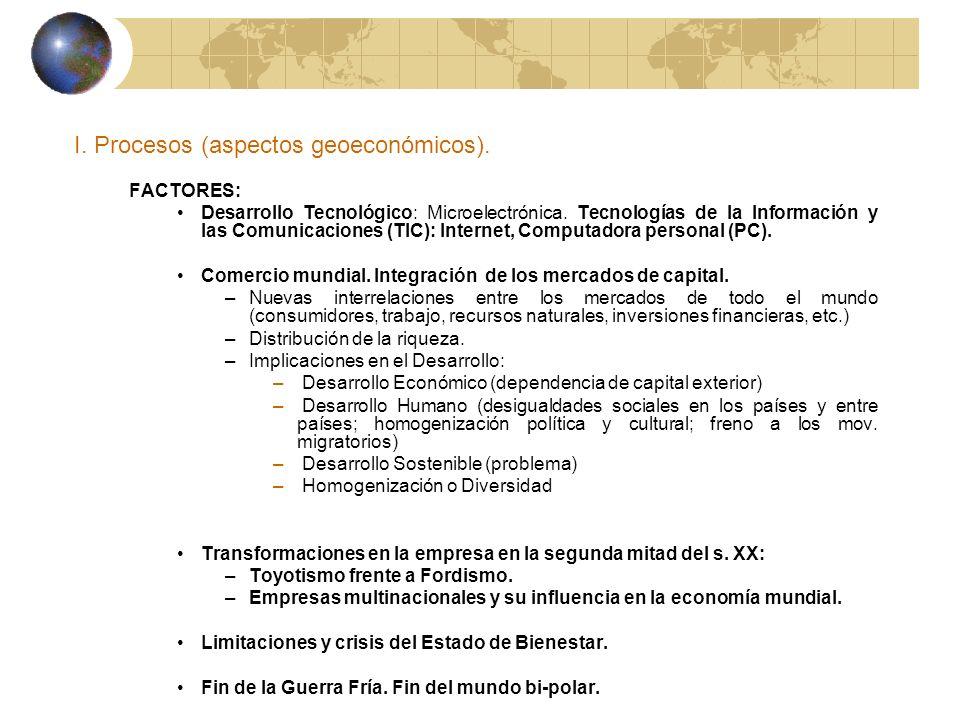 I. Procesos (aspectos geoeconómicos). FACTORES: Desarrollo Tecnológico: Microelectrónica. Tecnologías de la Información y las Comunicaciones (TIC): In