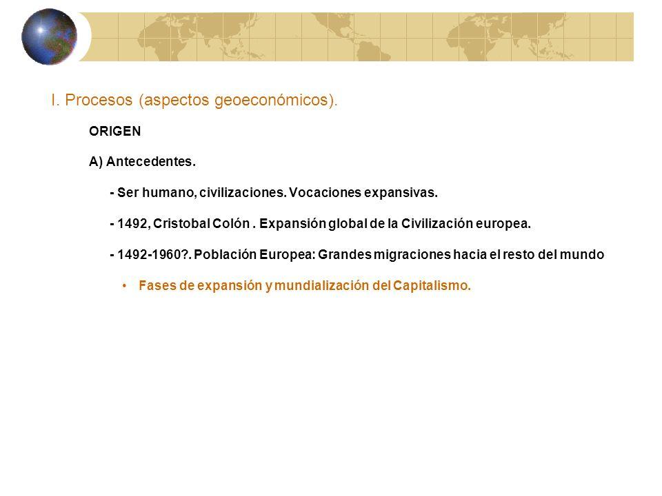 I. Procesos (aspectos geoeconómicos). ORIGEN A) Antecedentes. - Ser humano, civilizaciones. Vocaciones expansivas. - 1492, Cristobal Colón. Expansión