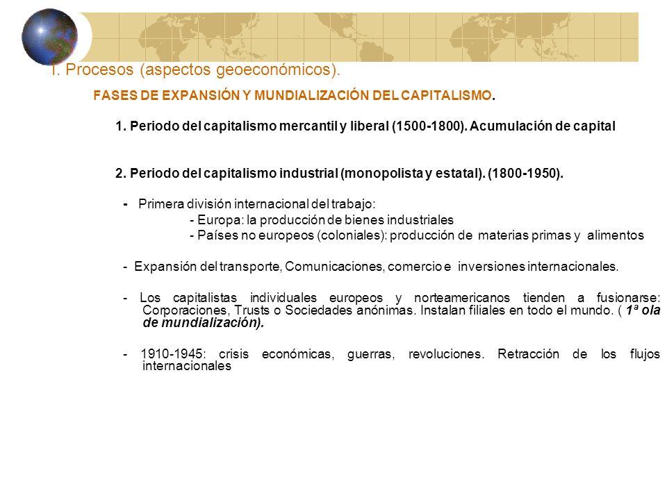 I. Procesos (aspectos geoeconómicos). FASES DE EXPANSIÓN Y MUNDIALIZACIÓN DEL CAPITALISMO. 1. Periodo del capitalismo mercantil y liberal (1500-1800).